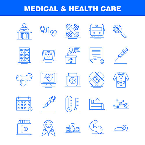 medical health care line icon set 1