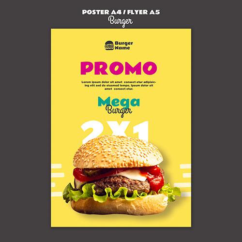 mega burger poster print template 1