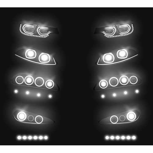 modern car front back headlights realistic vector set switched glowing white darkness vehicle led xenon 1