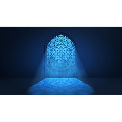 moon light shine through window into islamic mosque interior 1
