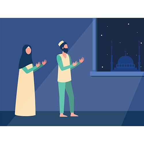 muslim family praying night together 1