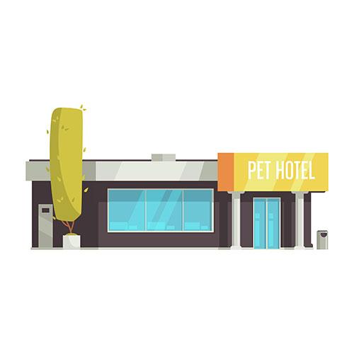 pet hotel building cartoon white 1
