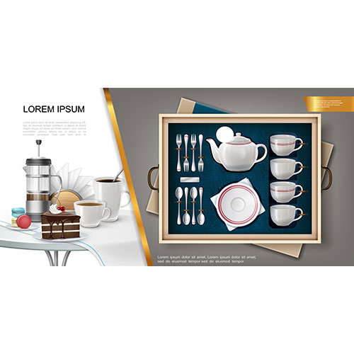 realistic silverware kitchenware concept with set teapot plate forks spoons mugs napkin holder 1