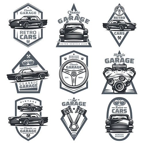 retro vehicle club emblems set with classic automobiles steering wheel motor engine pistons 1