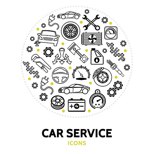 round composition with car service elements 1