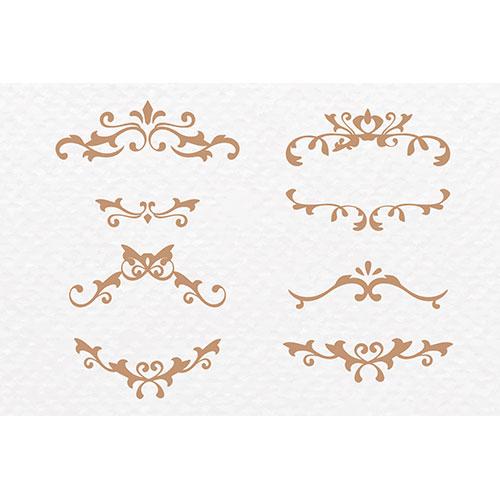 scroll ornament frame vector gold art deco set 1