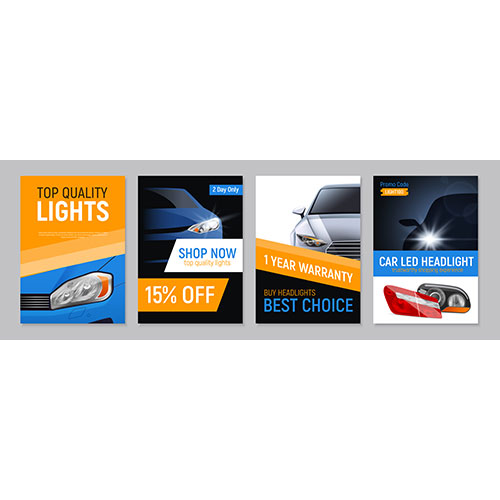 set four realistic auto headlights advertising banners with images car parts 1