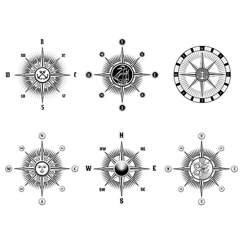 set vintage nautical marine compass icons drawn black lines white background 1