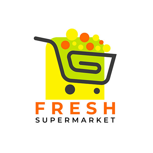 shopping cart supermarket logo template 1
