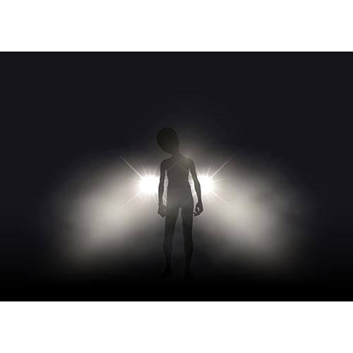 silhouette alien lit up car headlights foggy night 1