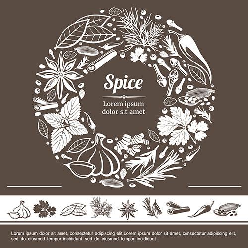 sketch spices round monochrome concept 1