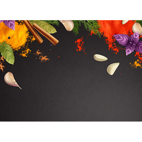 spices herbs realistic frame background with mint garlic cinnamon 1
