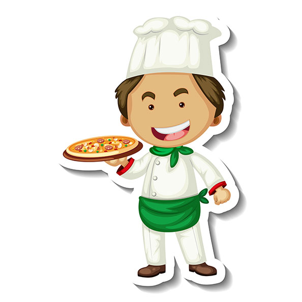 sticker template with chef man holds pizza tray isolated 2 1