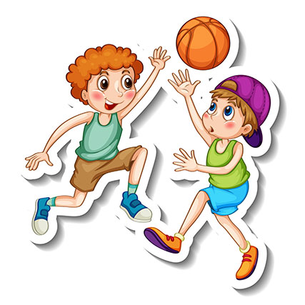 sticker template with two kids playing basketball isolated 1