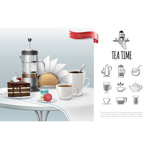 tea time concept with realistic cake cups full hot drinks french press macaroons napkins 1