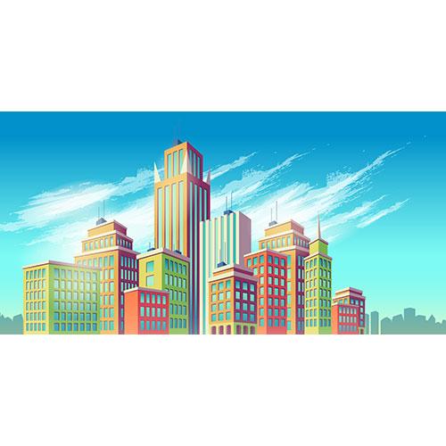 vector cartoon illustration banner urban background with modern big city buildings 1