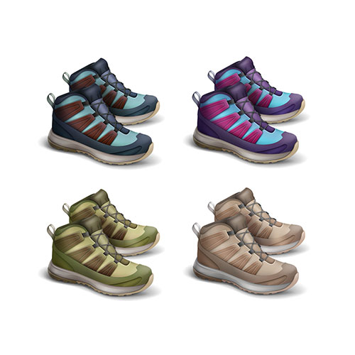 vector set colored brown green blue violet magenta travel sneakers side view isolated white back 1