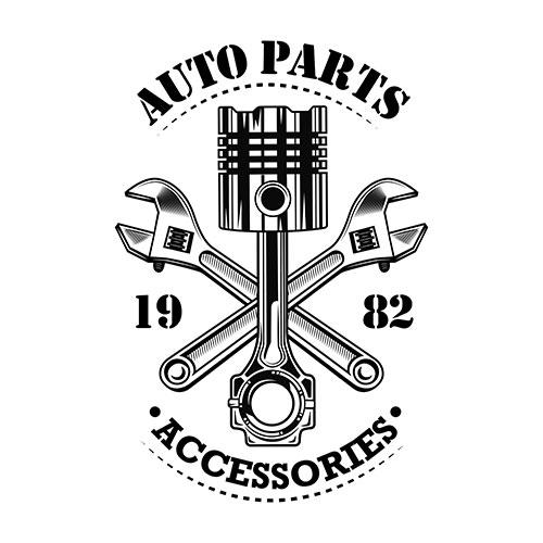 vintage car parts vector illustration chrome piston crossed wrenches build auto parts accessories 1