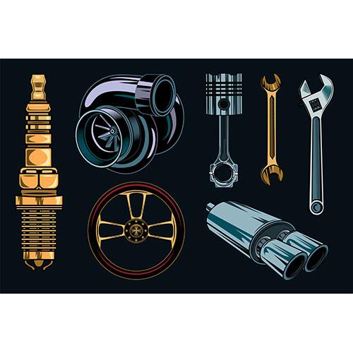 vintage car repair elements set 1