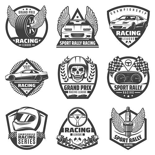 vintage monochrome car racing labels set with fast vehicles automobile parts skull helmet finish 1