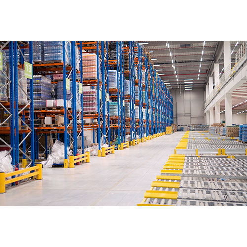 warehouse storage interior with shelves loaded with goods 1