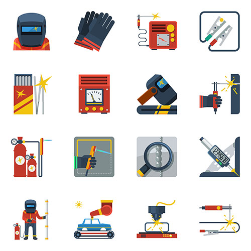 welding flat color icons 1