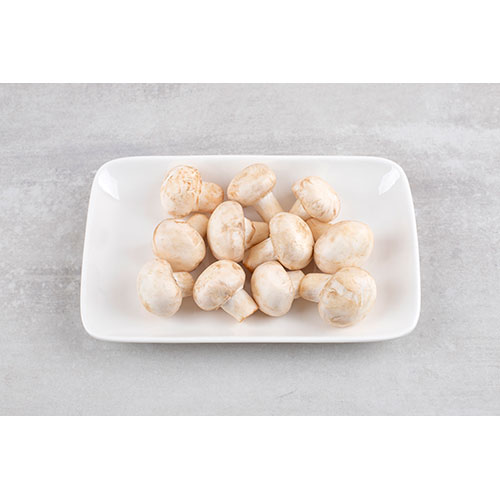 white plate fresh white mushrooms stone table 2