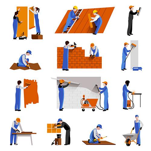 workers builder engineers technician icons set 1