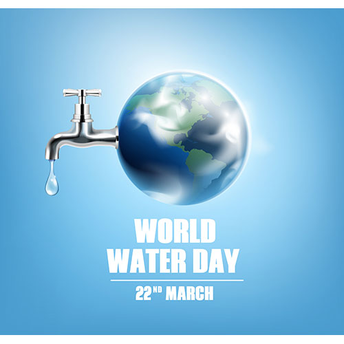 world water day card with earth globe faucet date 22 march realistic 1